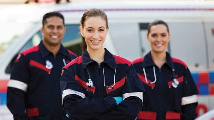 emergency medical technicians in uniform