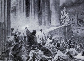 Artist's rendering of the burning of the Great Library at Alexandria