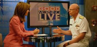 News Anchor Karen Mayers speaking with Paul Sullivan on Good Morning Live