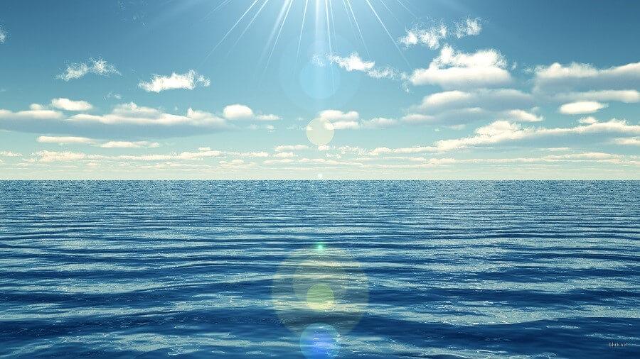 sun shinning on the ocean