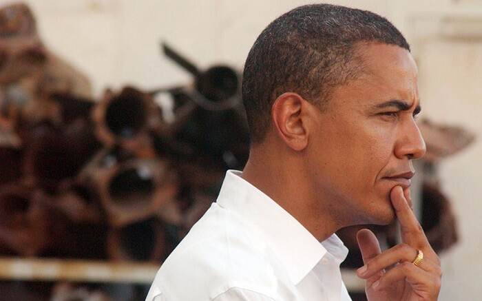 Barack Obama with a pensive expression