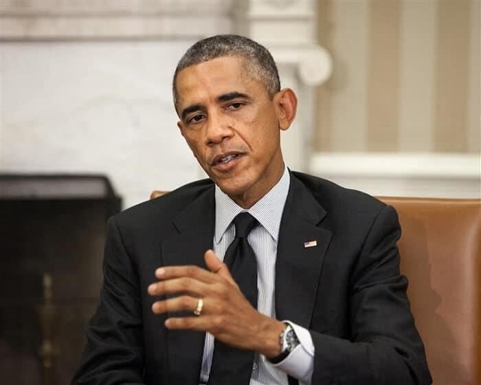 Close up of Barack Obama talking