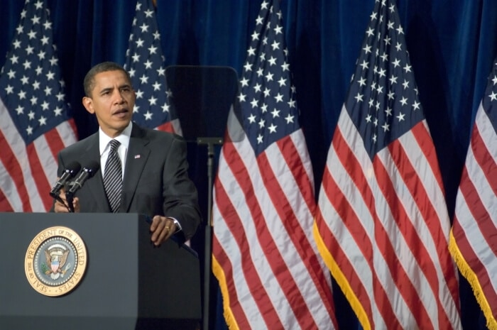 Barack Obama holding a speech