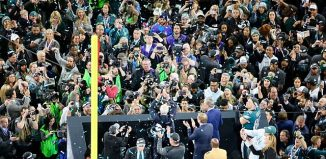 awarding of trophy to the The Philadelphia Eagles after winning the Super Bowl LII