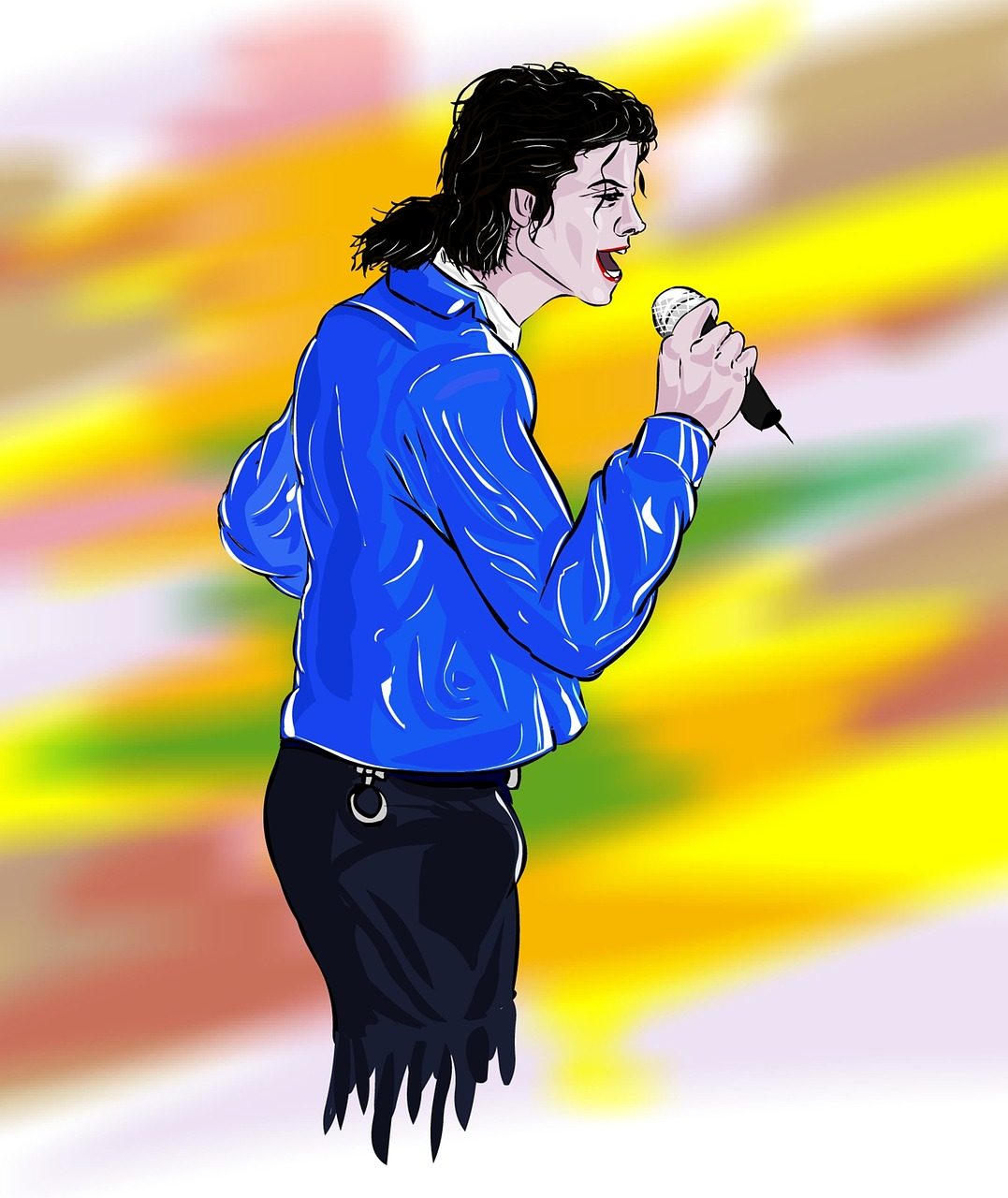 colored sketch of Michael Jackson